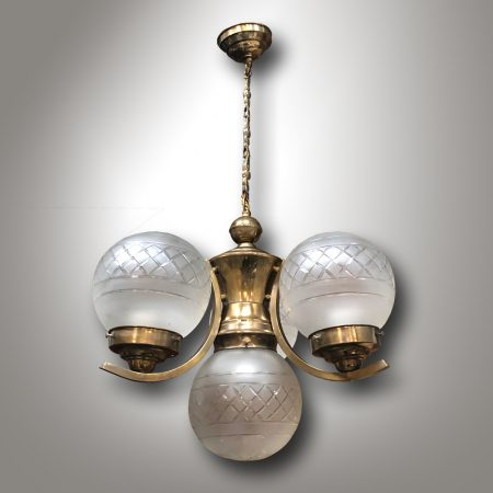 Mosazný lustr Art-Deco