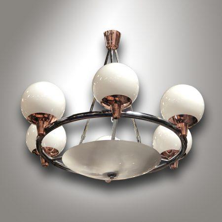 Chromový lustr v kombinací s mědí / Art-Deco